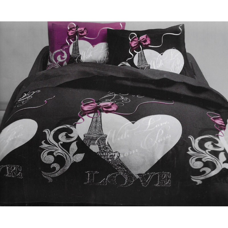 housse de couette paris love 200x200cm nadia. Black Bedroom Furniture Sets. Home Design Ideas