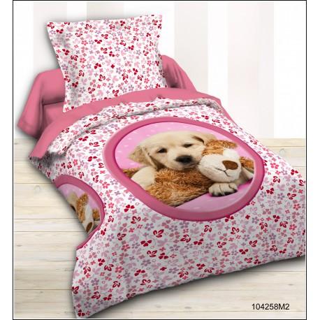 Parure lit enfant chien doudou rose